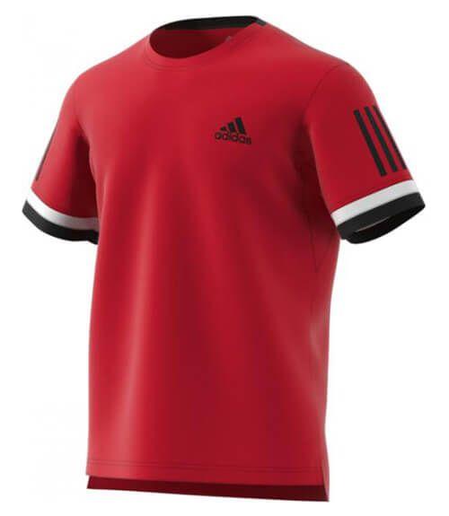 Camiseta Adidas Club 3 bandas en color rojo - Tejido Climacool 2edd6dfbb7442