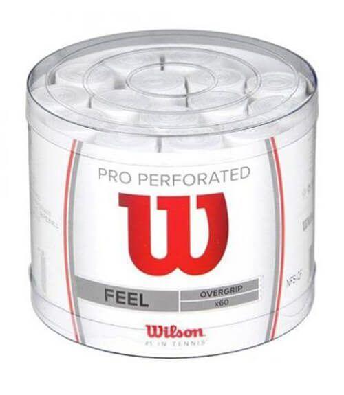 Tambor Wilson 60 Overgrips Pro Perforados Blancos