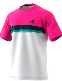 Camiseta Adidas Club rosa y blanca