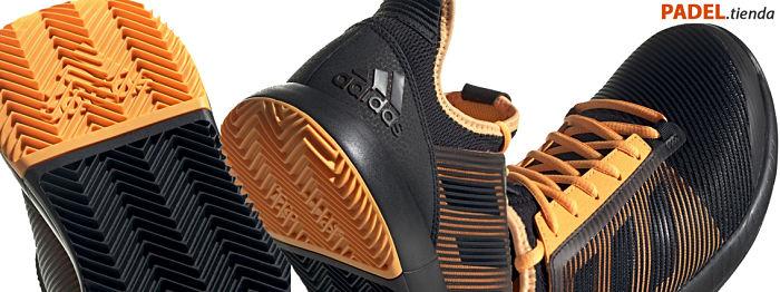 Detalle Zapatillas Adizero Defiant Bounce 2 Negras-Naranjas