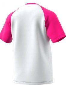 Espalda camiseta Adidas Club rosa-blanca