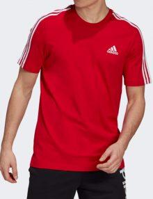 camiseta adidas 3 bandas roja