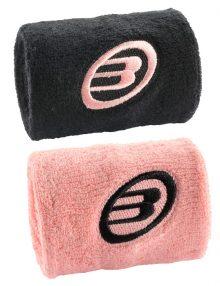 Muñequeras Bullpadel Negro-Rosa Pequeña