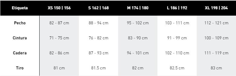 Guía de tallas para el chándal Adidas Aeroready