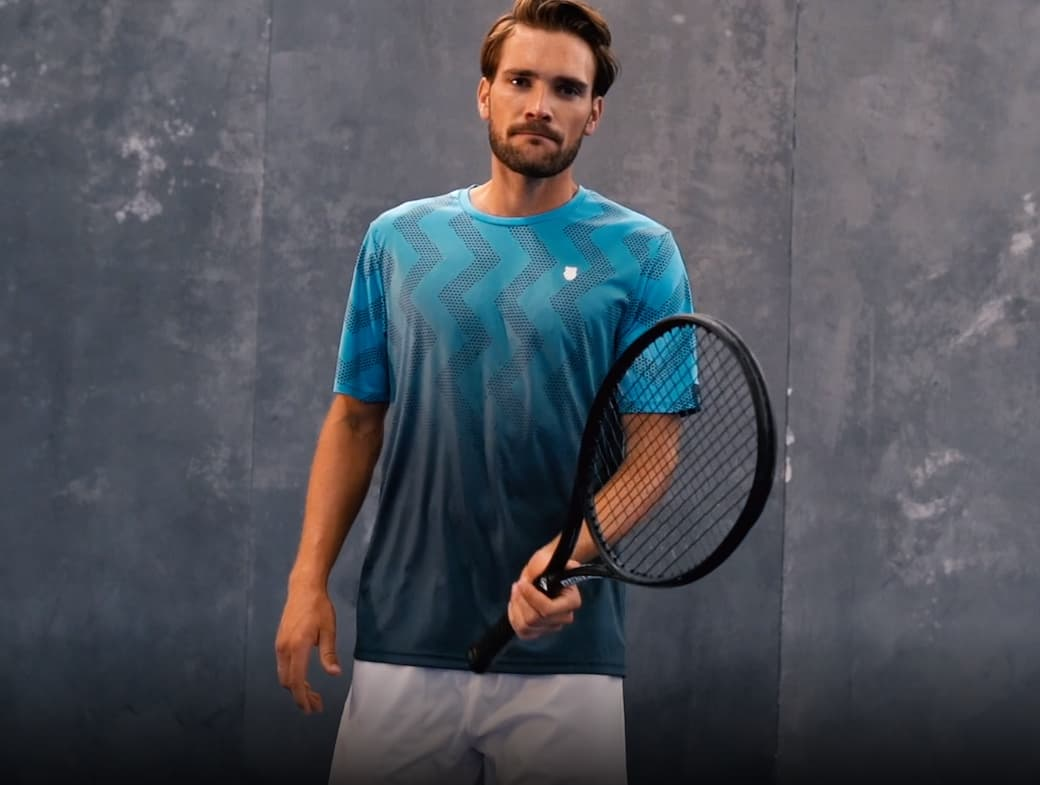 nueva camiseta kswiss hypercourt print azul